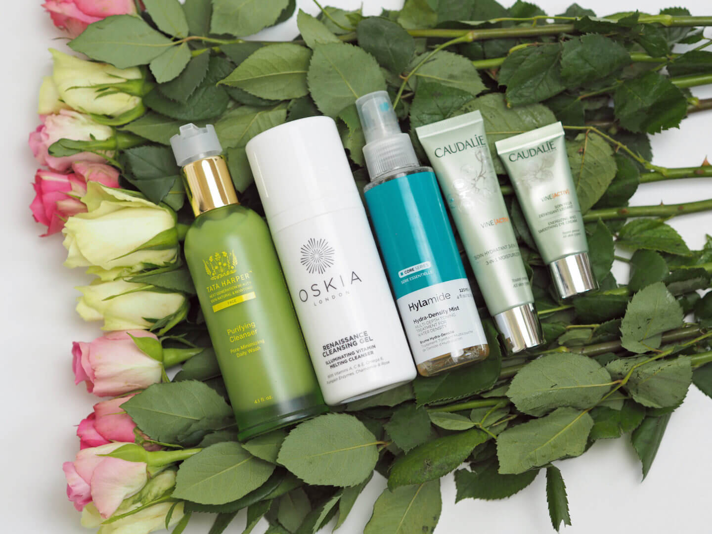 Summer AM Skincare Routine Oskia Renaissance Gel, Tata Harper Purifying Cleanser, Caudalie Vine, Hylamide mist
