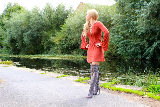 Boohoo Lace Up Boots and Dress