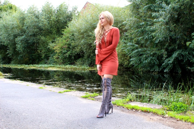 Boohoo Lace Ups Boots & Dress