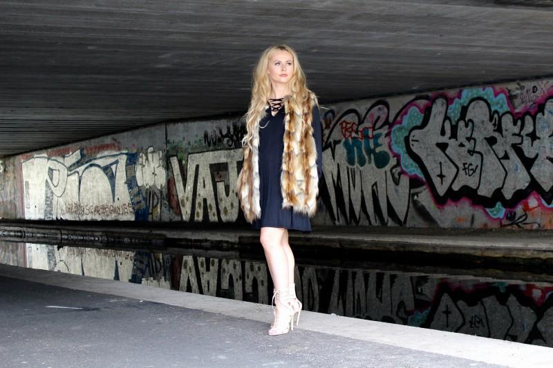 Lace Up Dress & Faux Fur Gilet