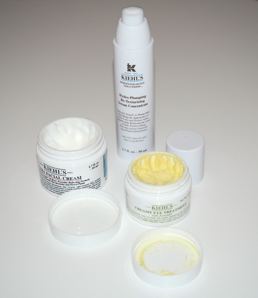 Kiehl's Skincare, Creamy Eye Treatment with Avocado, Hydro-Plumping Re-Texturizing Serum and Ultra Facial Cream