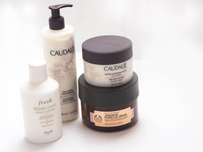 Caudalie Vine Body Butter, Caudalie Body Lotion, Fresh Sugar Lemon Body Lotion, The Body Shop Japanese Camellia Cream