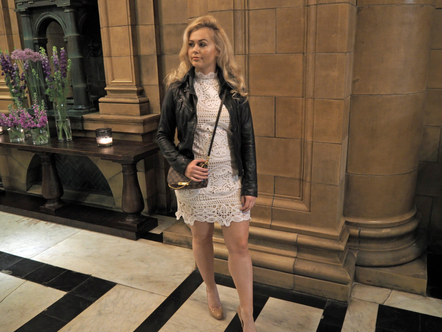 Boohoo Dress, All Saints Leather Jacket, Louis Vuitton Bag, Christian Louboutin Shoes
