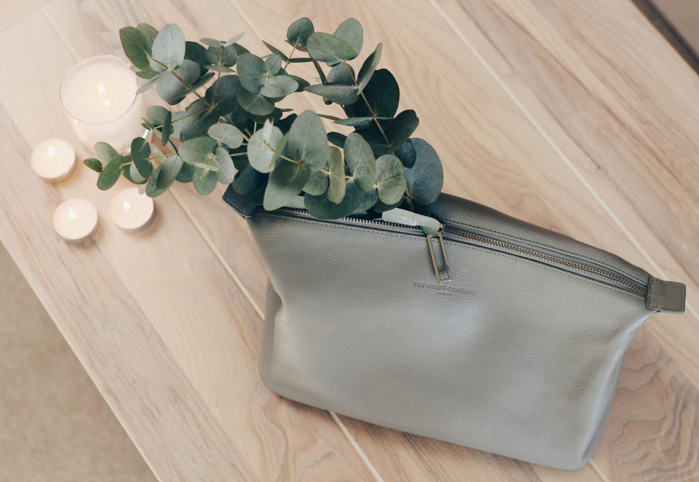 The White Company leather wash bag in grey